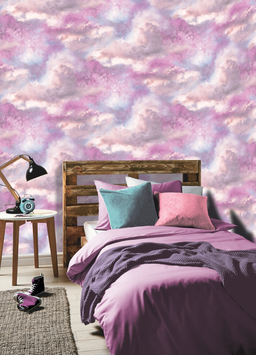 Diamond Galaxy Cloud Wallpaper Purple and Blush Pink Arthouse 260009