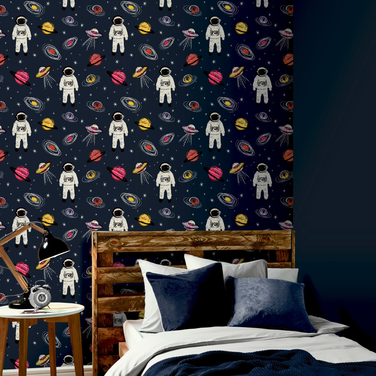 Spaceman Astronaut Wallpaper Navy Arthouse 697901
