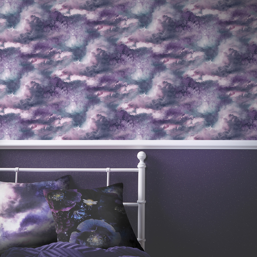 Diamond Galaxy Cloud Wallpaper Purple Arthouse 260007