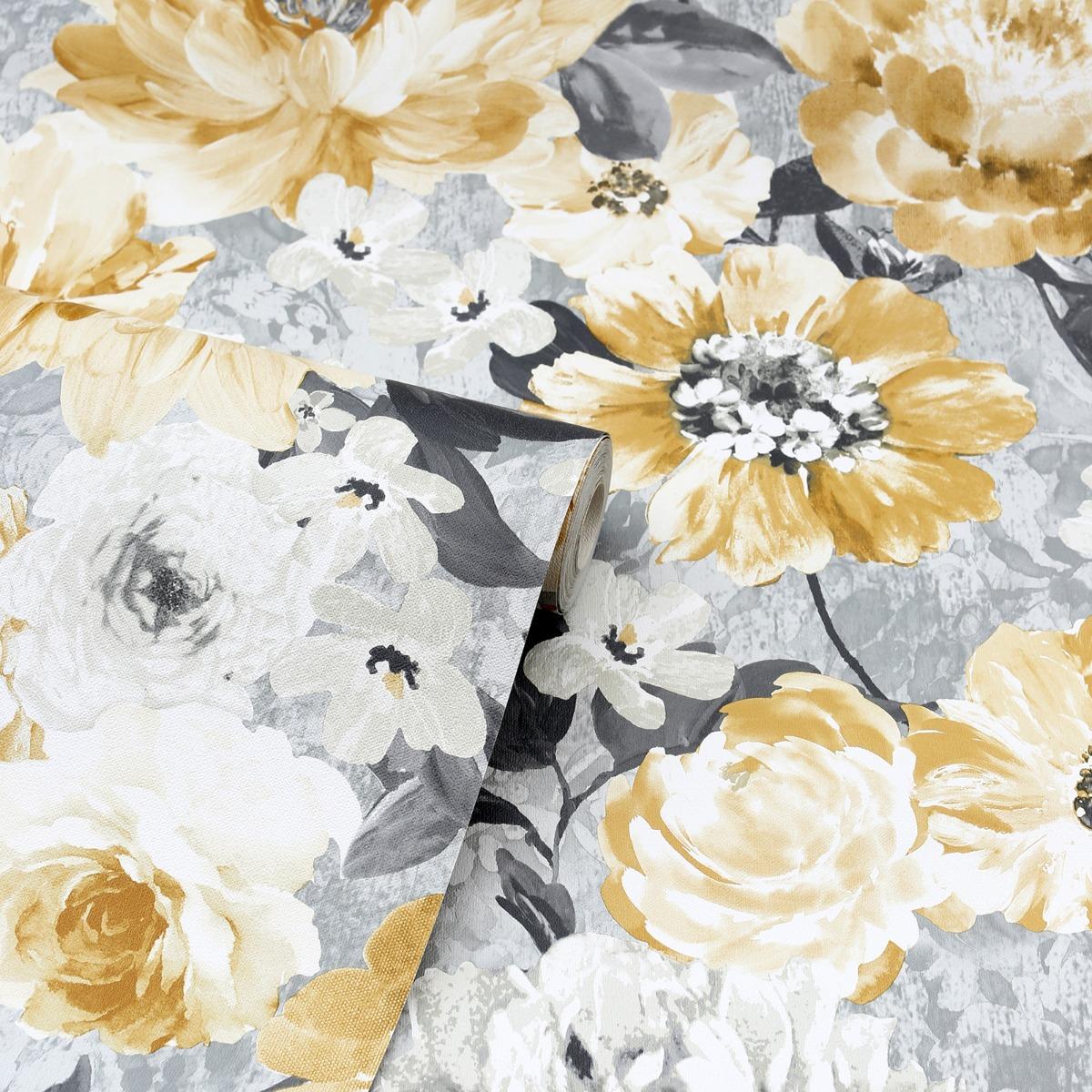 Aubrey Floral Wallpaper Ochre Arthouse 908504