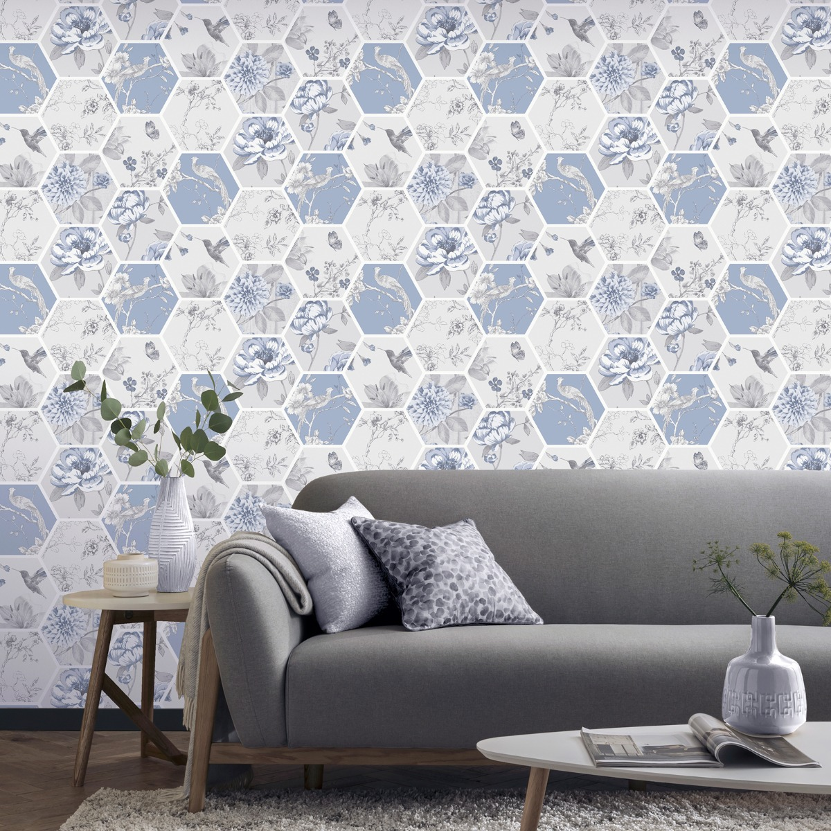 Chinoise Decoupage Wallpaper Blue Arthouse 908903