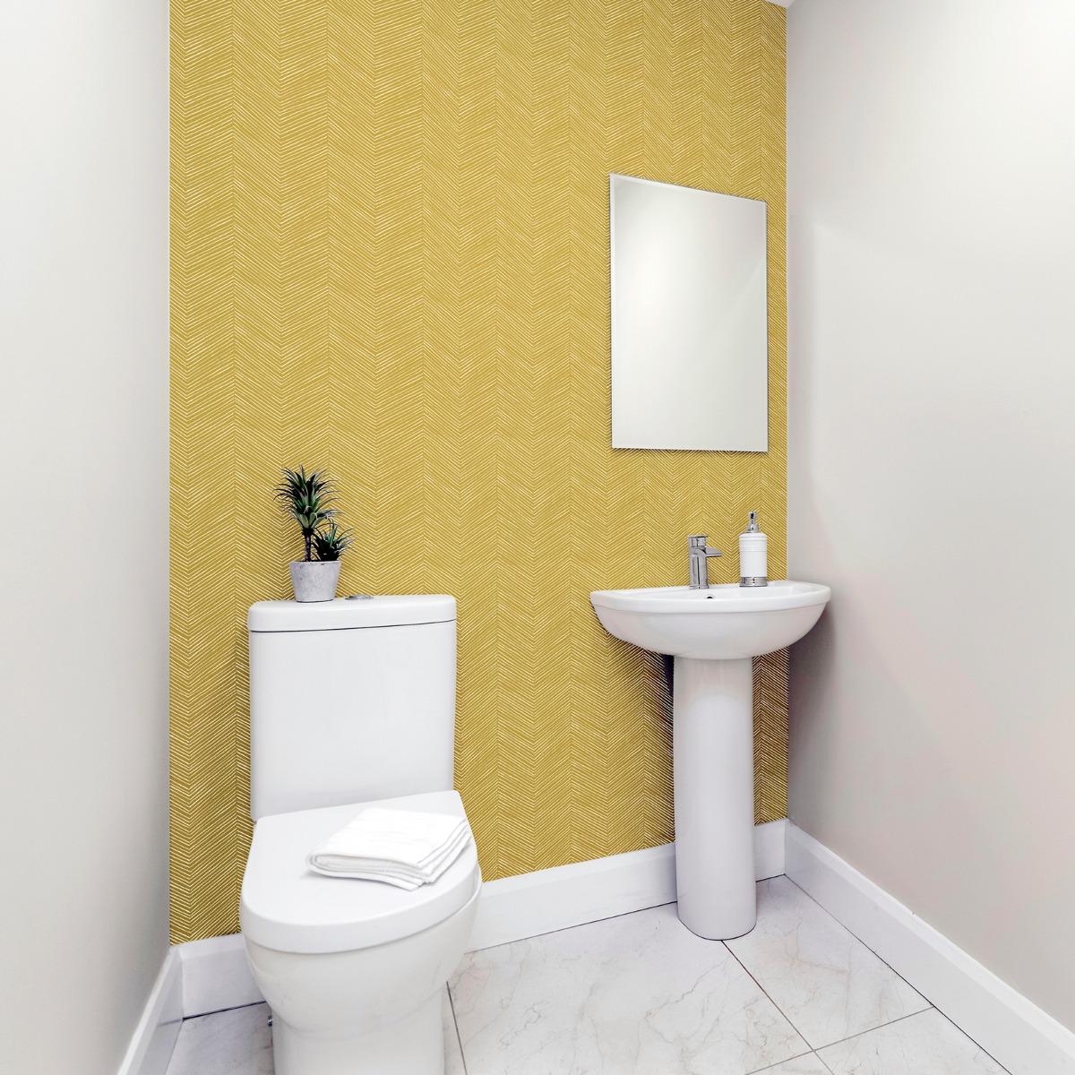 Arrow Weave Chevron Wallpaper Ochre Arthouse 909400