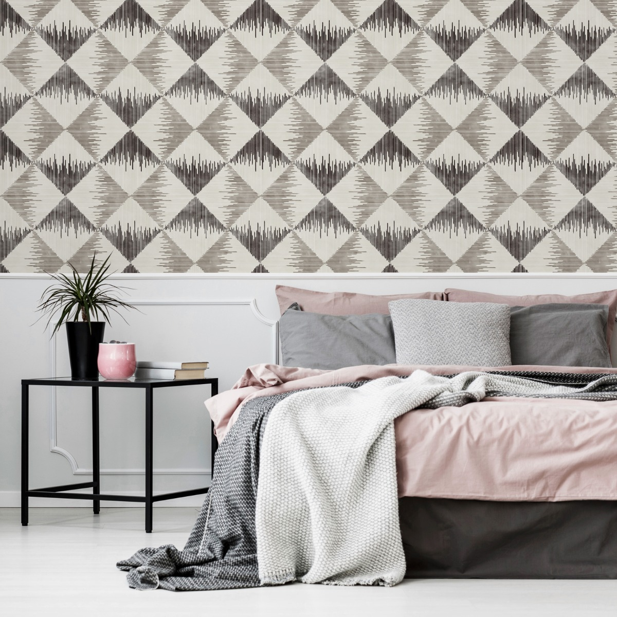 Aztec Geometric Wallpaper Mono Arthouse 909401