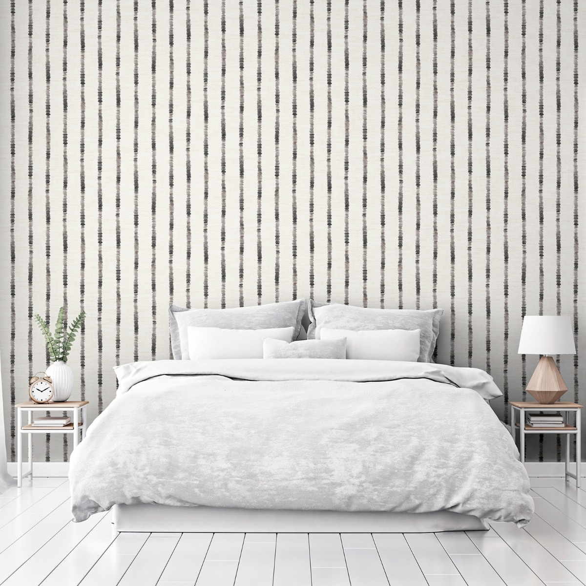 Silk Road Stripe Wallpaper Mono Arthouse 909405