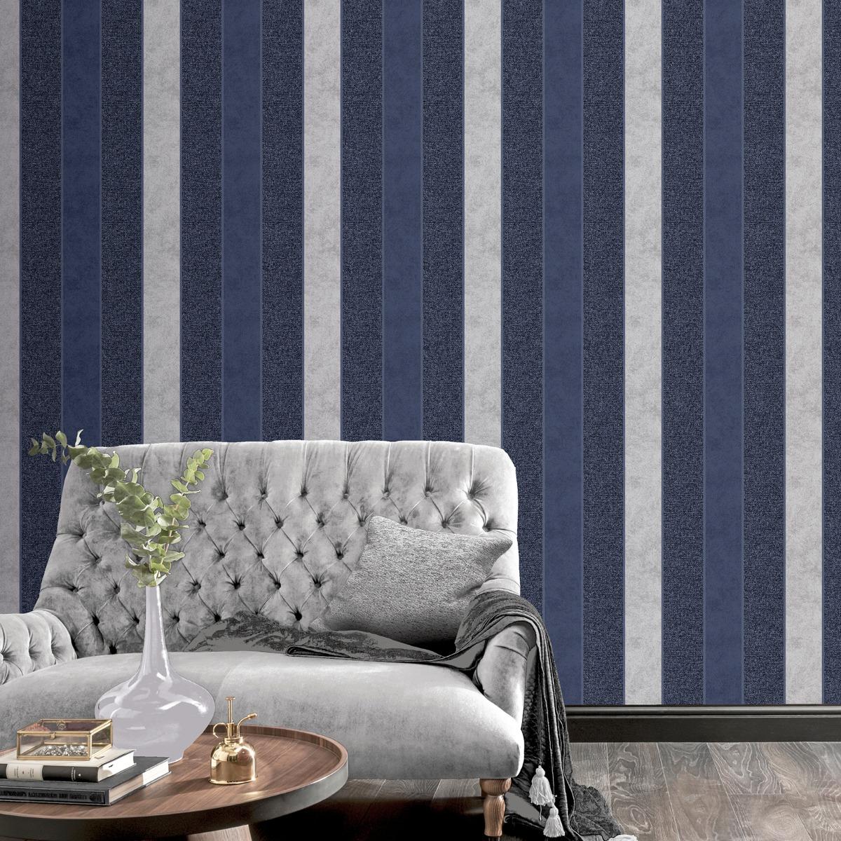 Calico Stripe Texture Wallpaper Navy Arthouse 921302