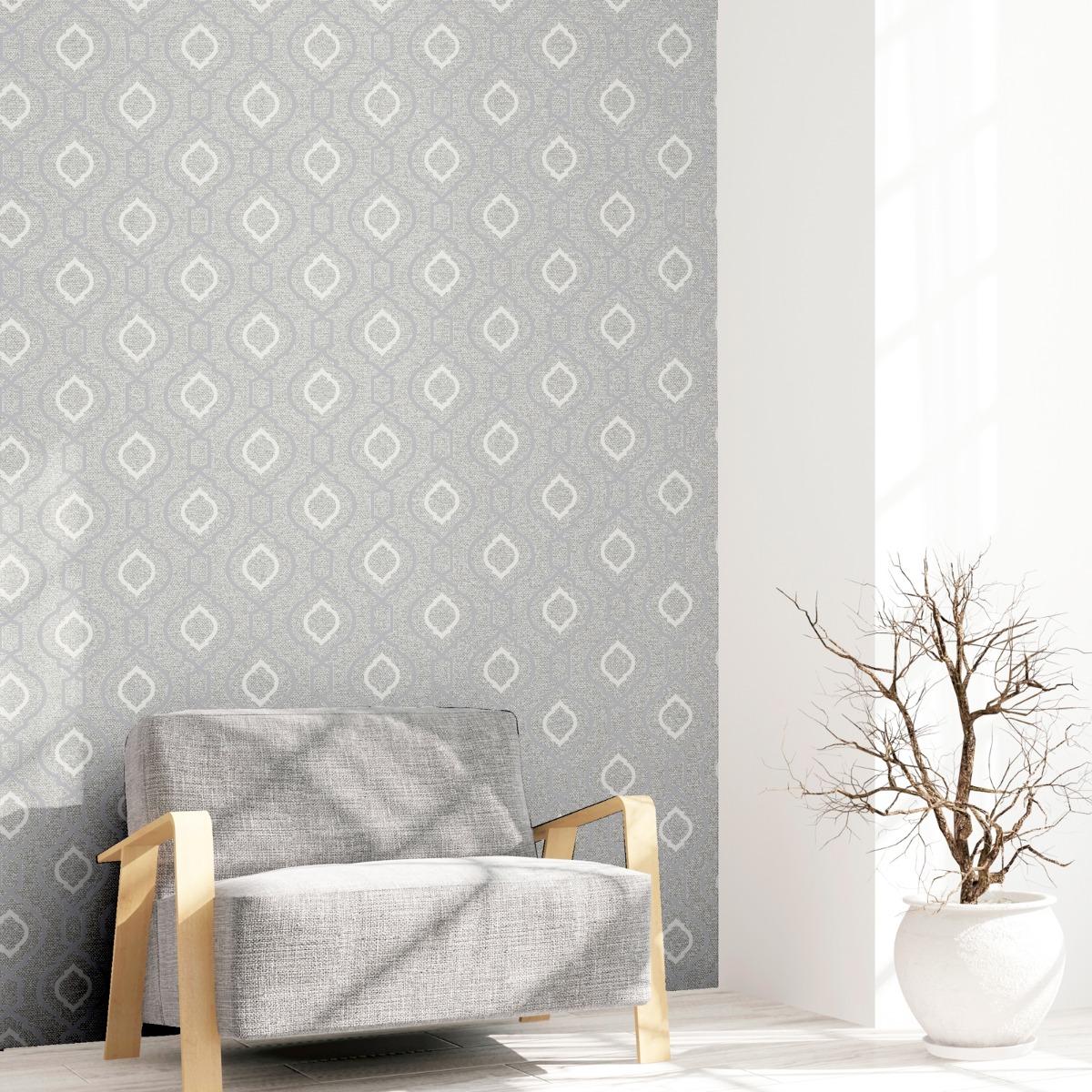 Calico Trellis Texture Wallpaper Grey Arthouse 921400