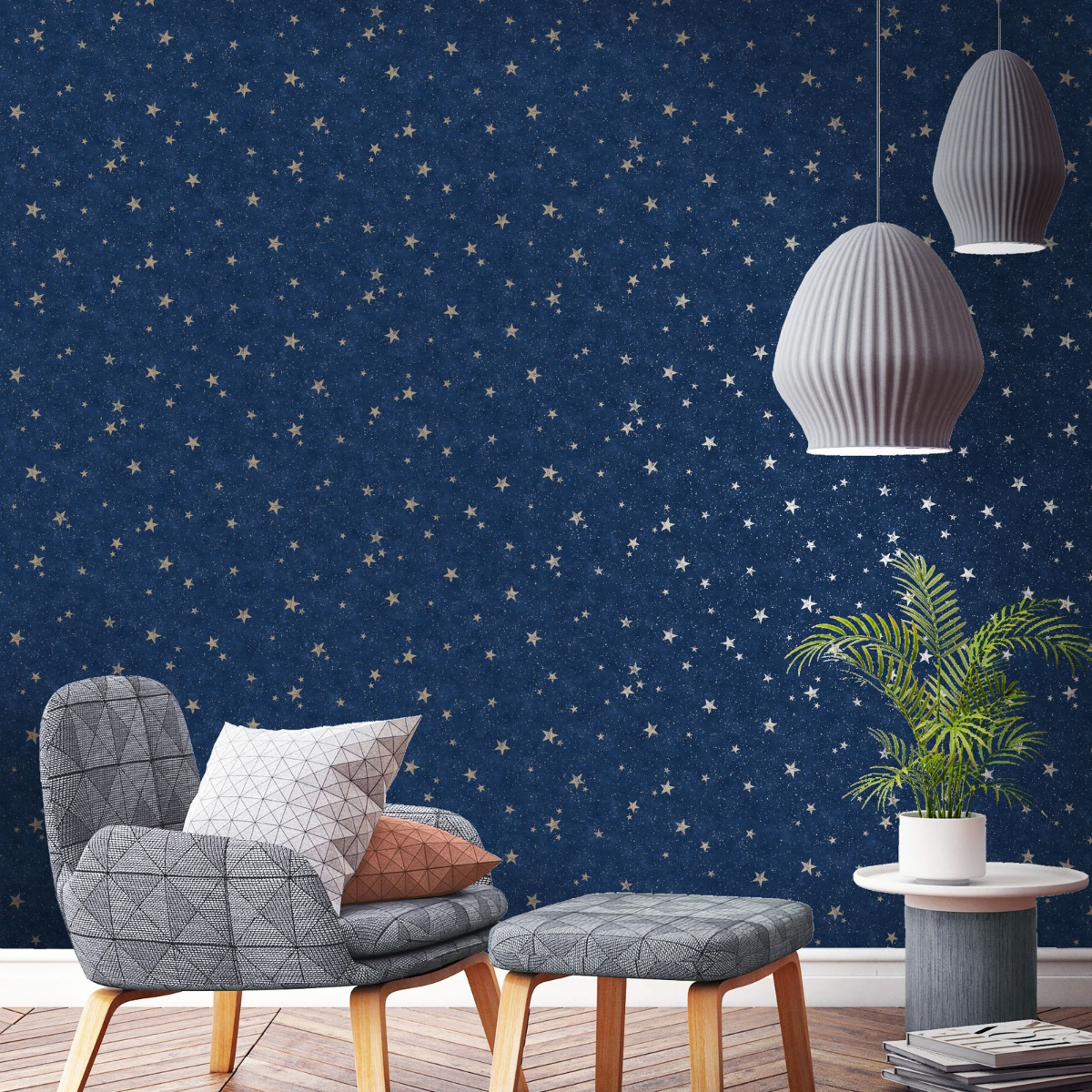 Crown Starlight Stars Wallpaper Navy / Gold M1490