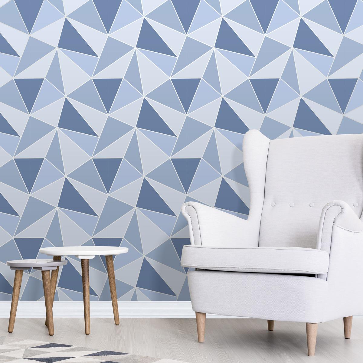 Apex Geometric Wallpaper Blue Fine Decor