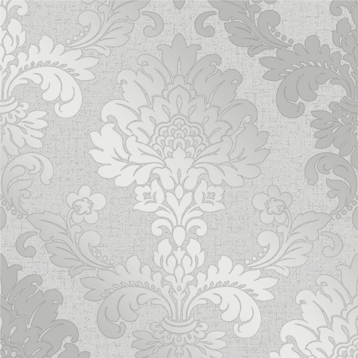 Quartz Damask Wallpaper Silver Fine Decor FD41965