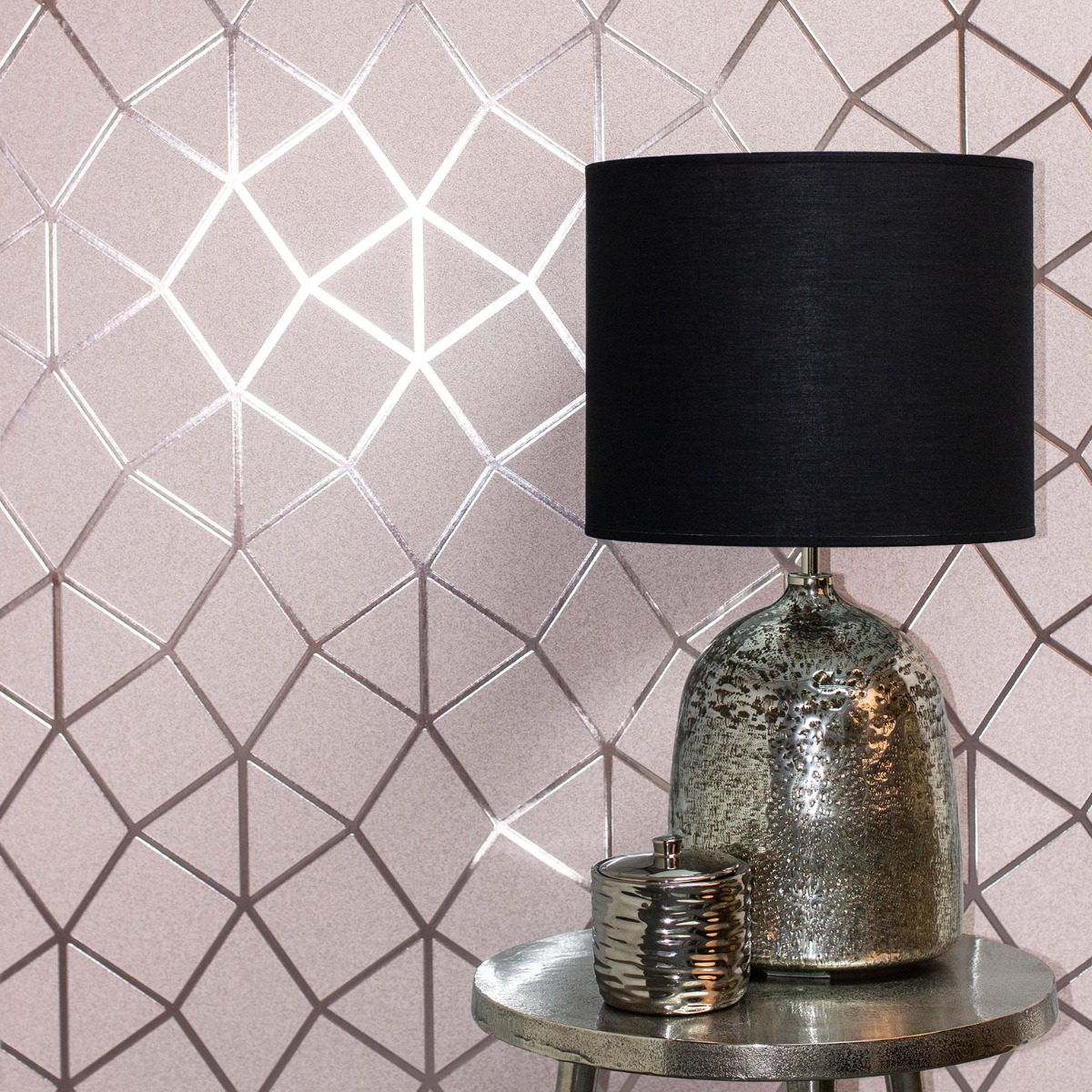 Platinum Geo Trellis Texture Wallpaper Blush Pink / Rose Gold Fine Decor FD42561