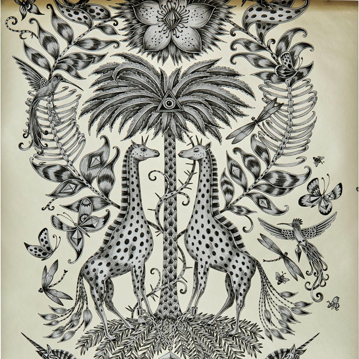 Emma J Shipley Animalia Kruger Wallpaper Monochrome W0102/05