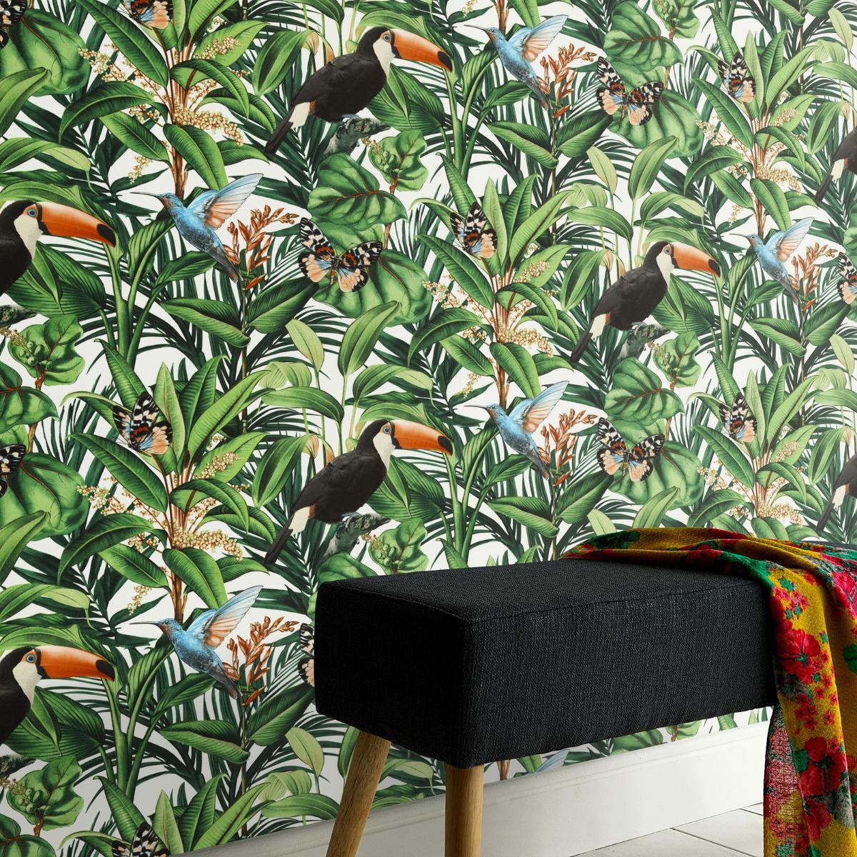 Erismann Paradisio 2 Jungle Birds Wallpaper White (10121-07-BUR)