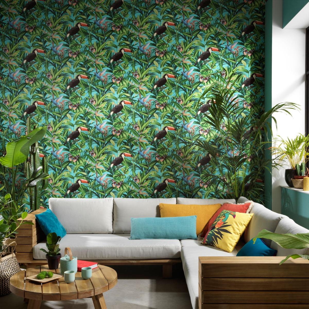 Erismann Paradisio 2 Jungle Birds Wallpaper Blue (10121-18-BUR)