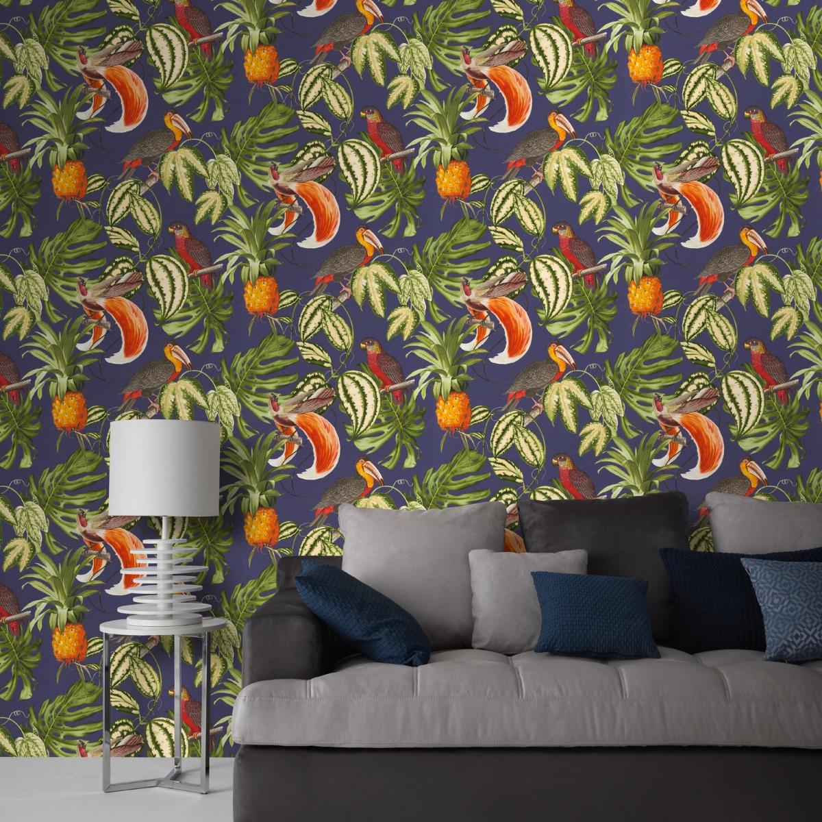 Erismann Paradisio Tropical Birds Wallpaper Navy (6302-08-BUR)