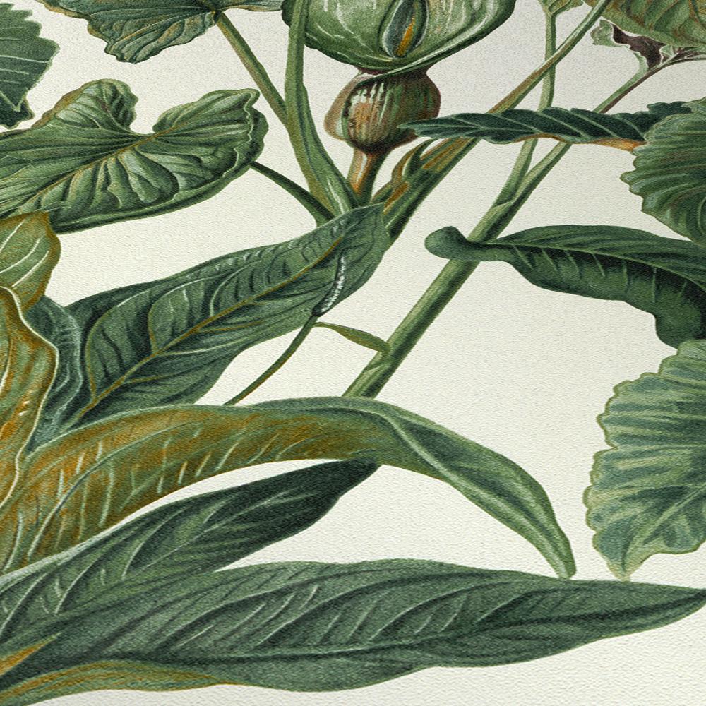 Erismann Paradisio Tropical Leaves Wallpaper White