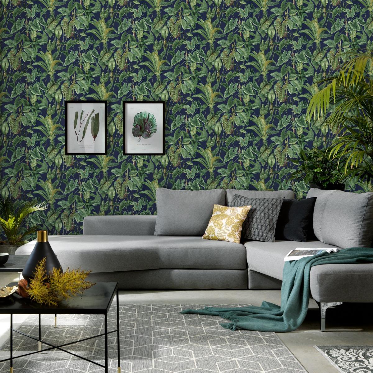 Erismann Paradisio Tropical Leaves Wallpaper Navy (6303-08-BUR)
