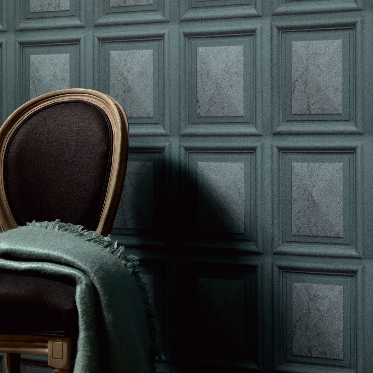 Erismann Imitations Marble Wood Panel Effect Wallpaper Teal (6319-18-BUR)