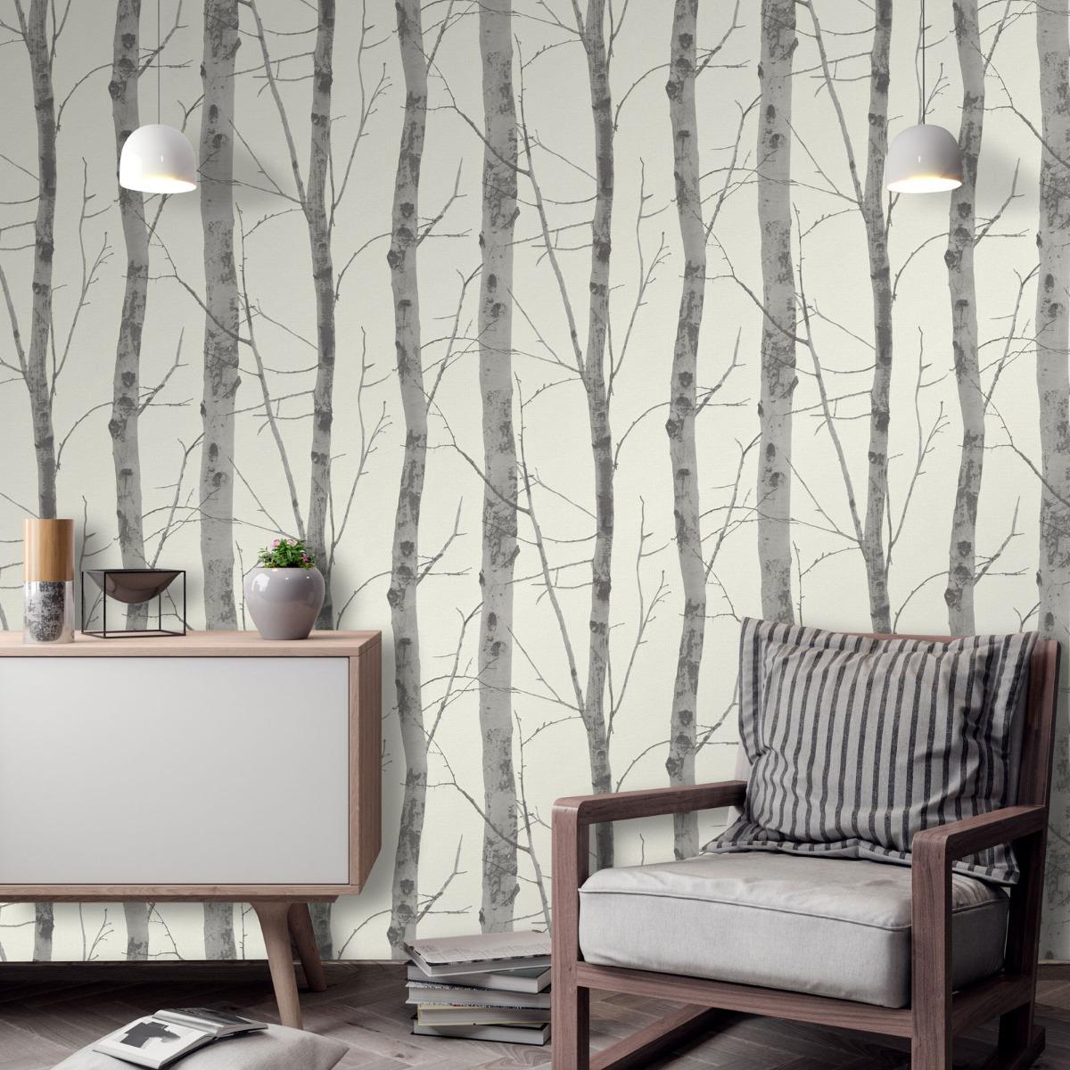 Erismann Birch Trees Wallpaper Cream/Grey (5433-47-BUR)