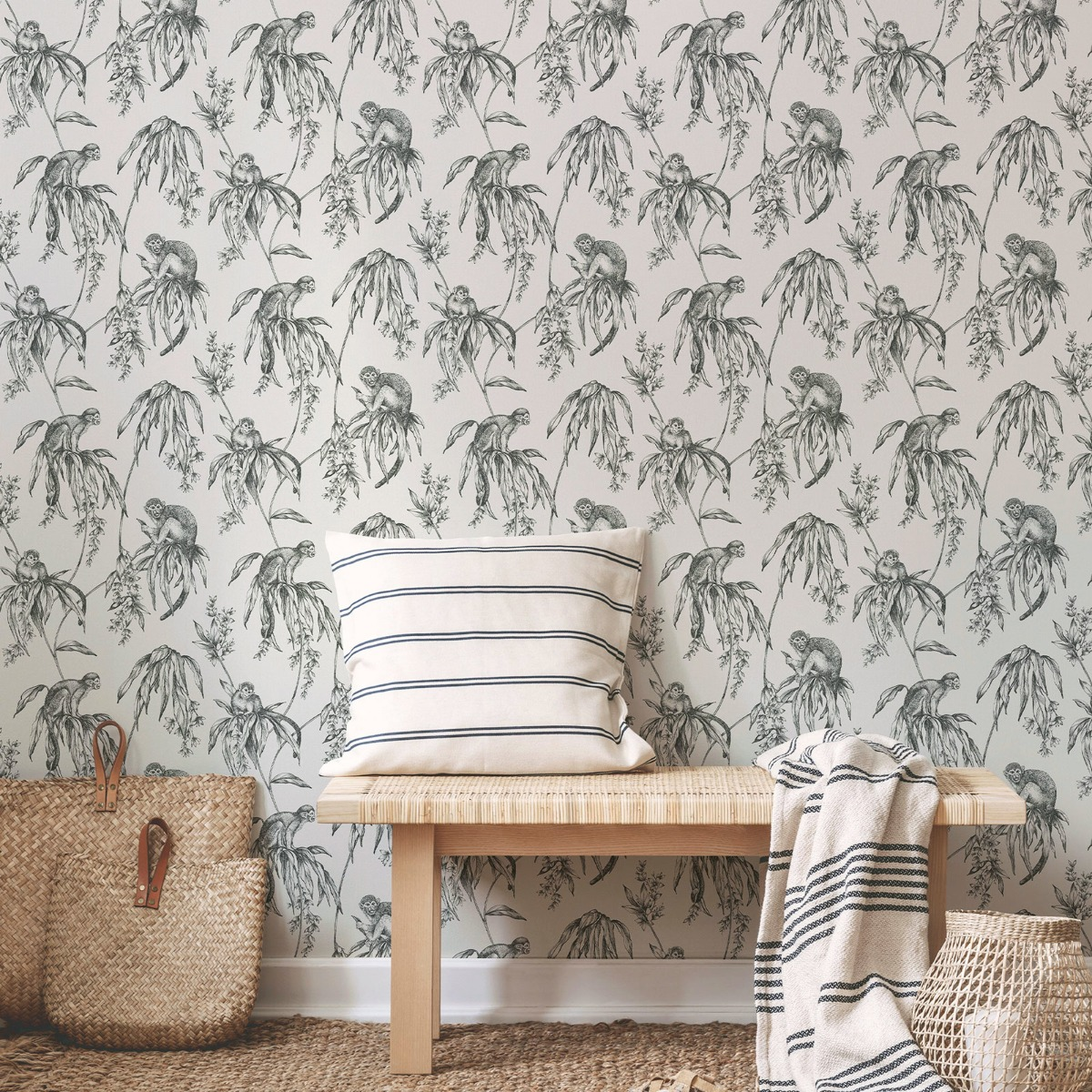 Sublime Saimiri Anthracite Monkey Wallpaper Graham and Brown 106157