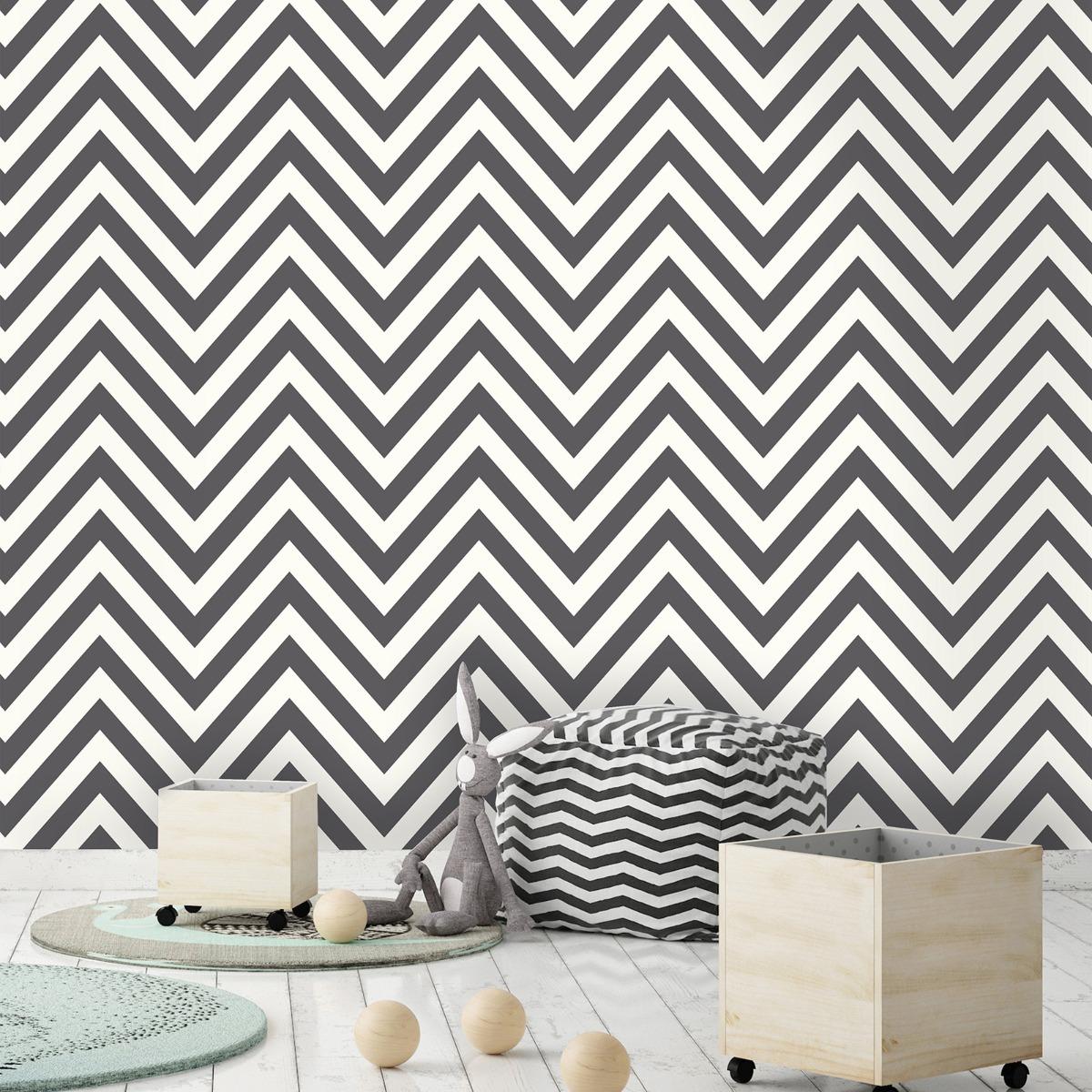 Chevron Zig Zag Wallpaper Black / White Holden 12574