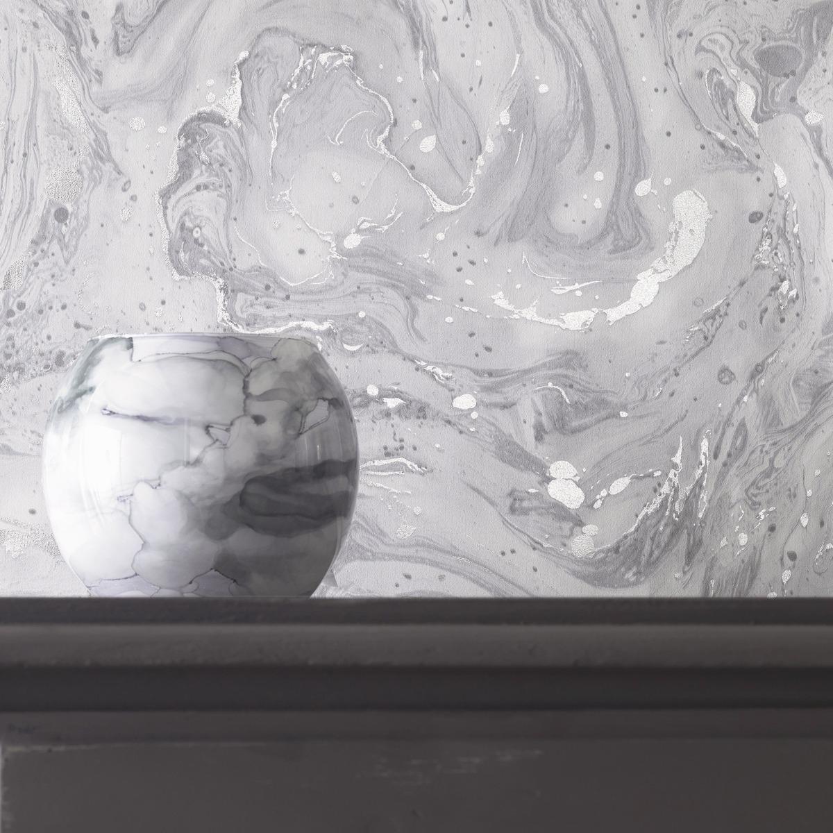 Minerals Azurite Marble Wallpaper Grey / Silver Holden