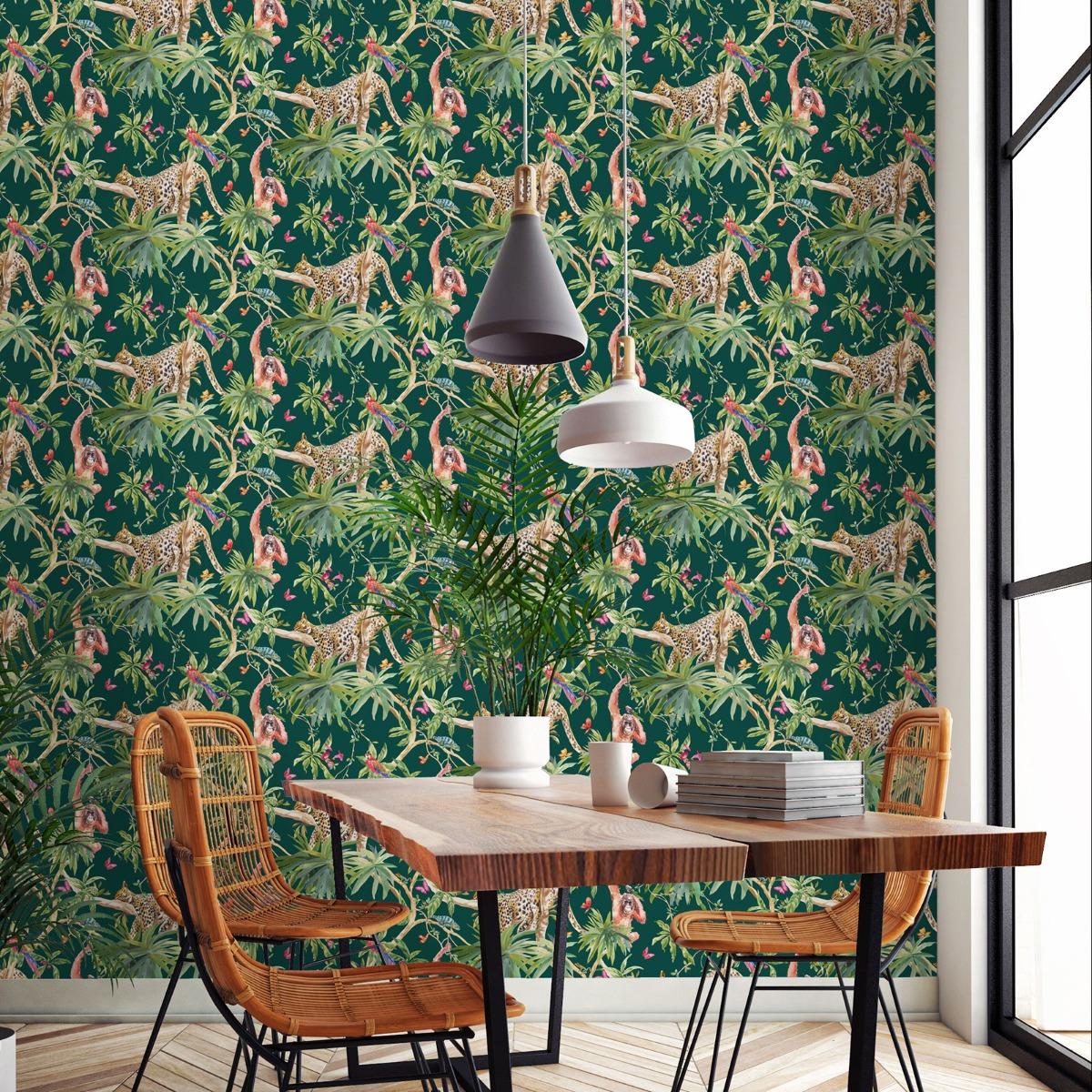 Jungle Animals Wallpaper Green Holden