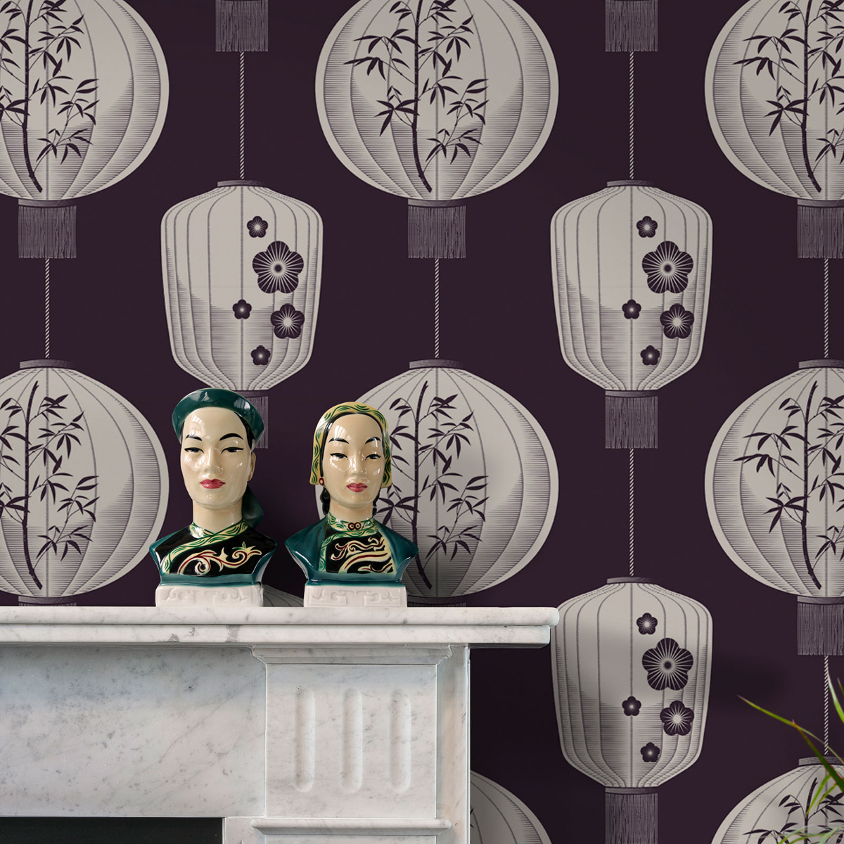 lucky lanterns chinese inspired wallpaper plum