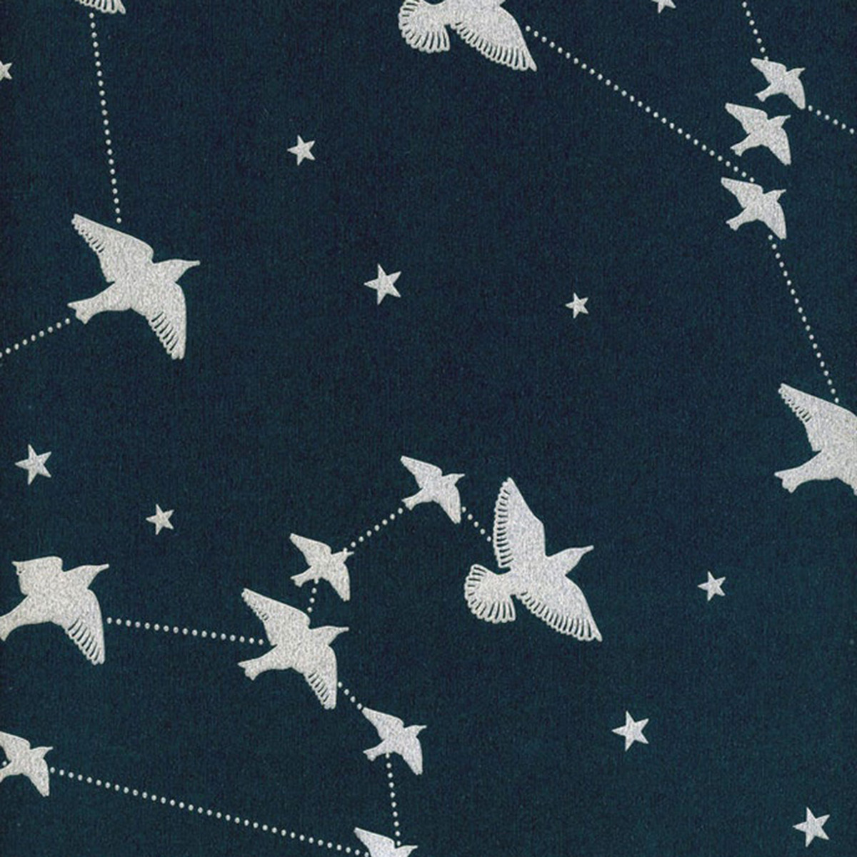 starling star bird wallpaper white navy silver