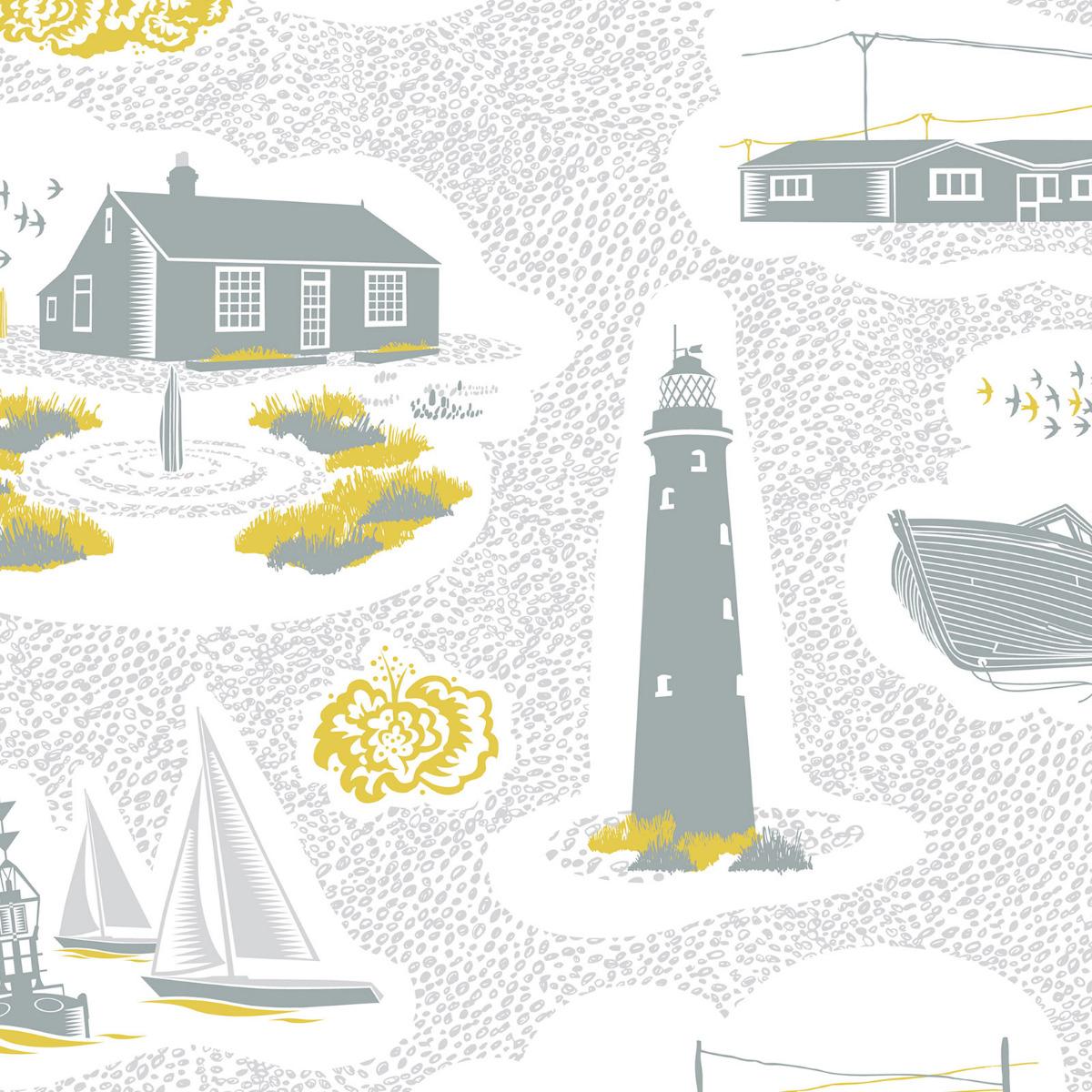 dungeness coastal wallpaper ochre yellow