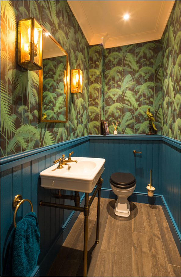 houzz green tropical leaves bathroom toilet wallpaper
