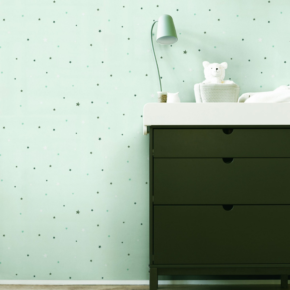 Bambino XVIII Stars Wallpaper Mint Green Rasch 245240