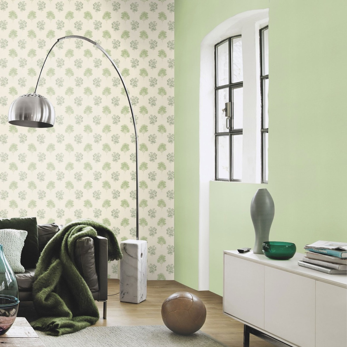 Lazy Sunday Tree Print Design Wallpaper Pastel Green Rasch 401530