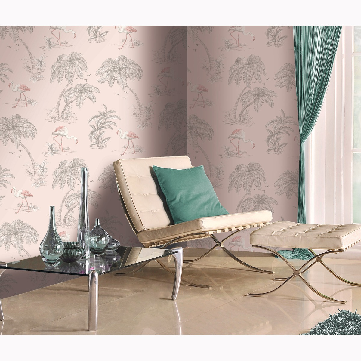 Flamingo Lake Wallpaper Blush Pink World of Wallpaper 50155