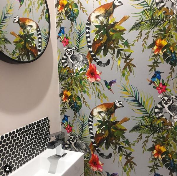 lemur wallpaper bathroom