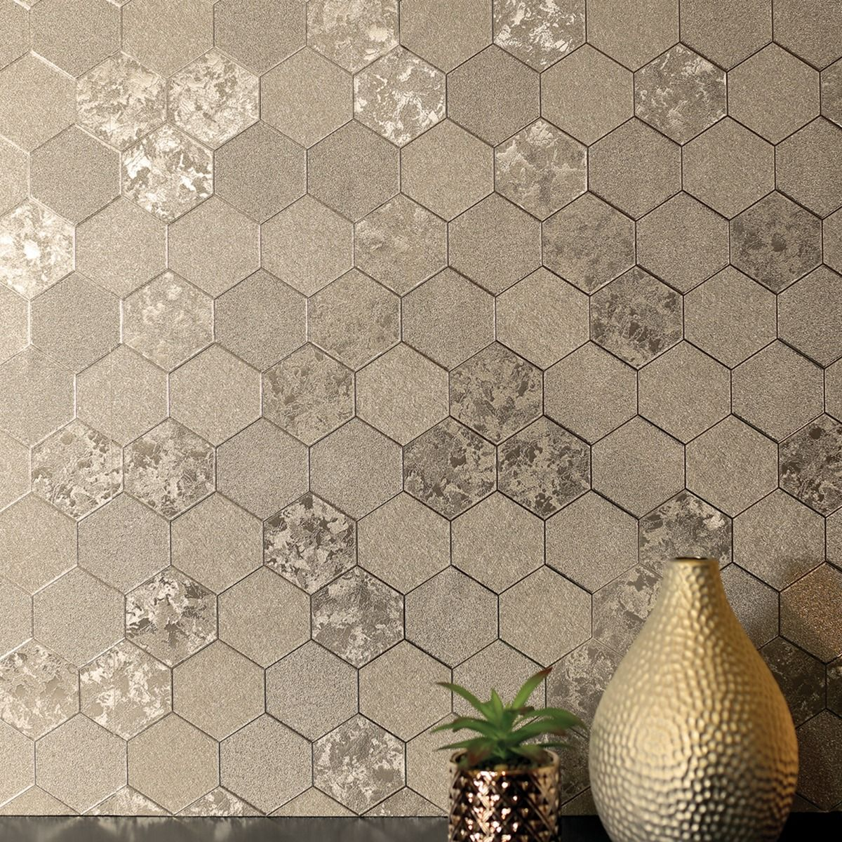 Foil Honeycomb Wallpaper Champagne Arthouse 294701