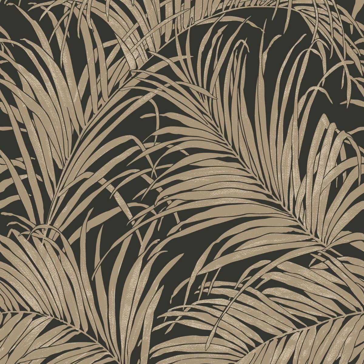 black foil wallpaper palm leaf tropical