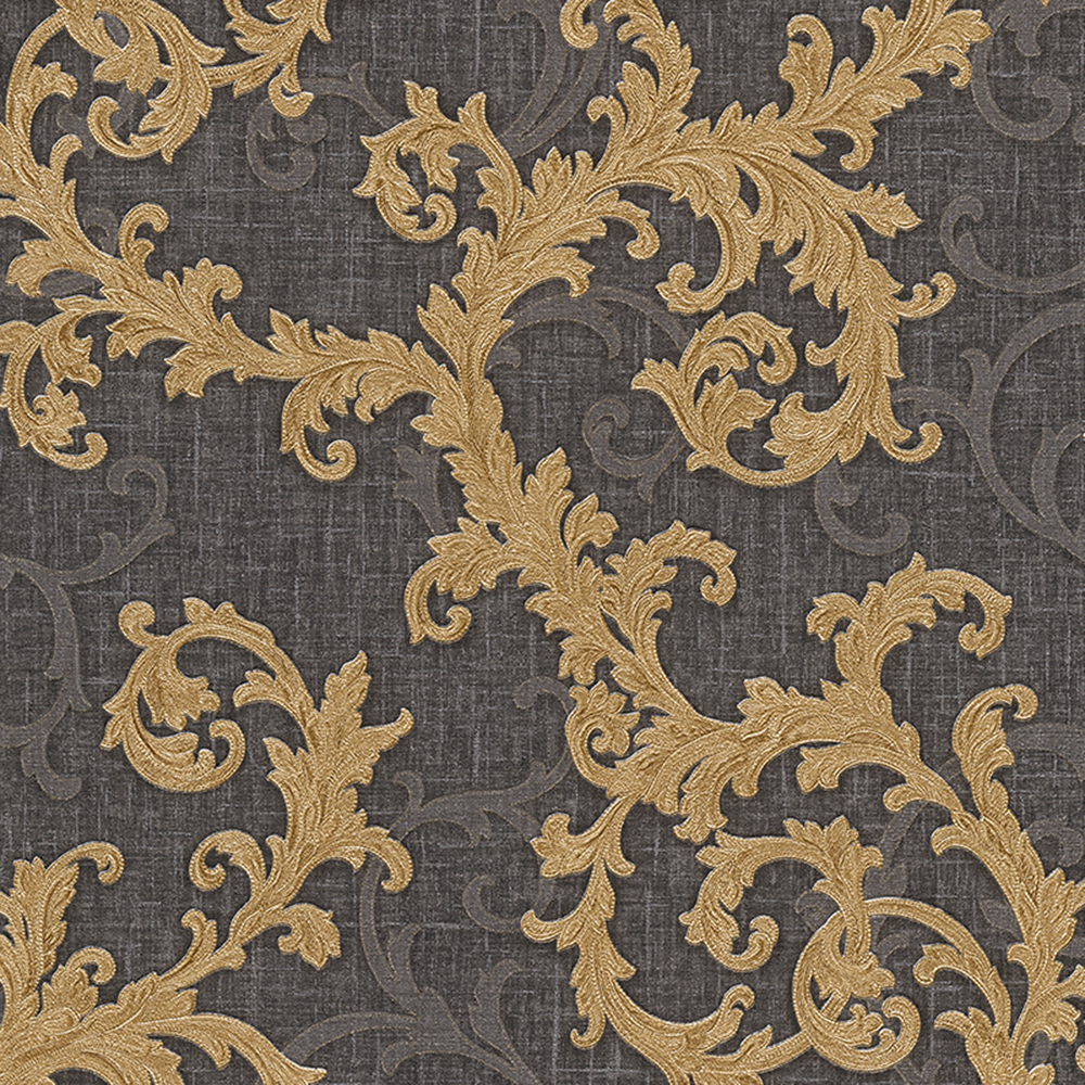 Versace Baroque Floral Trail Wallpaper Black And Gold 96231 6 10m X 70cm