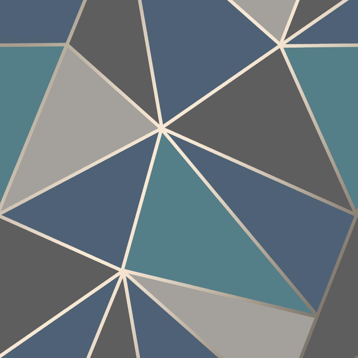 Apex Geometric Wallpaper Aqua And Navy Blue Fine Decor Fd42001