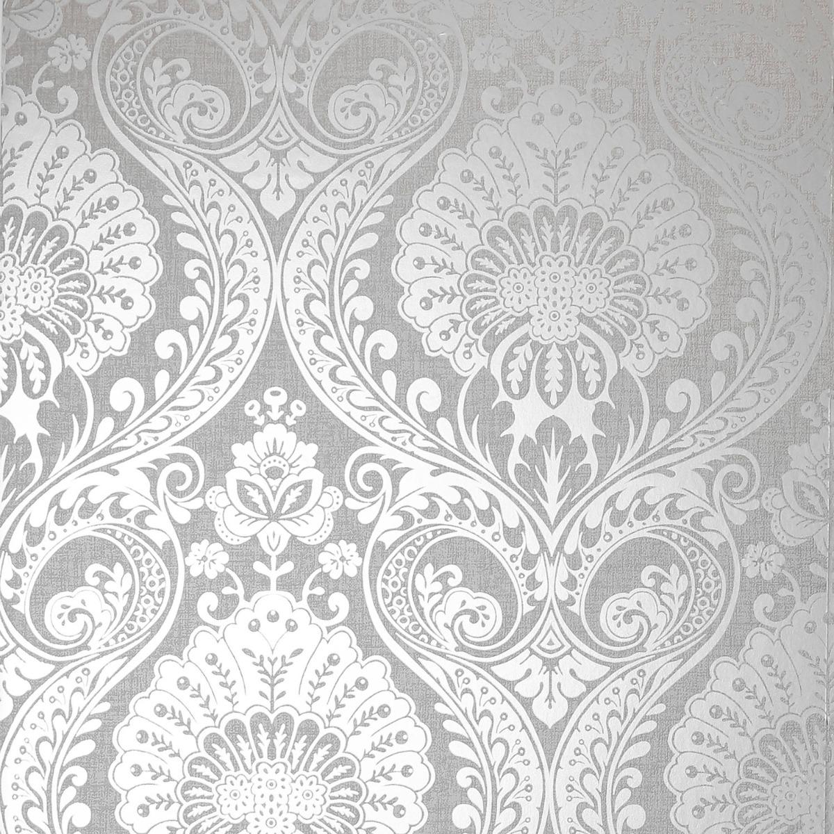 Luxe Damask Wallpaper Silver Arthouse 906609