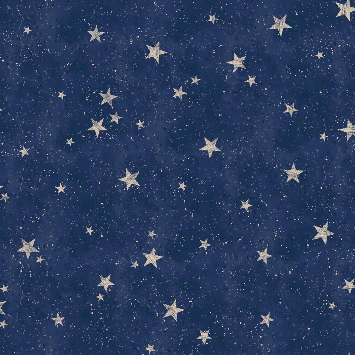 Crown Starlight Stars Wallpaper Navy Gold M1490