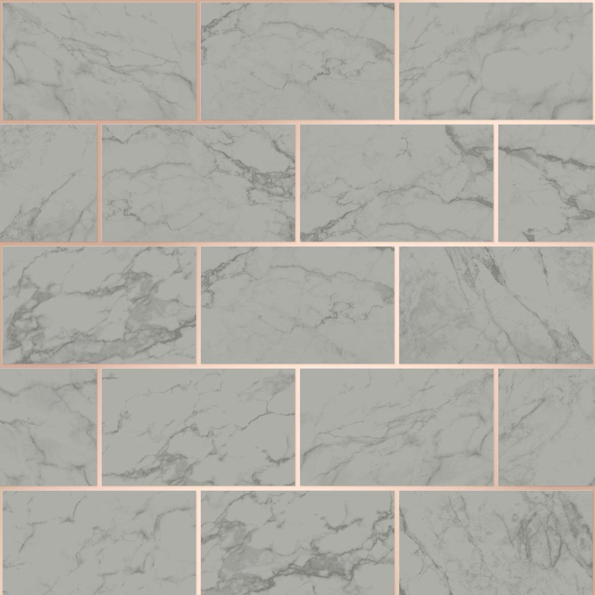 Silver Crown M1509 Metro Brick Marble Wallpaper Metallic Grey
