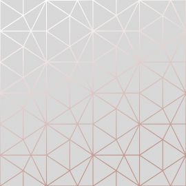 Metro Prism Geometric Triangle Wallpaper - Grey and Rose Gold - WOW009