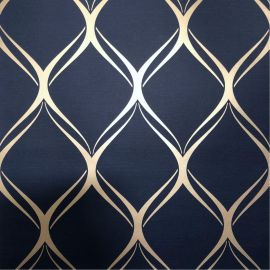 Clifton Wave Geometric Wallpaper Navy / Gold WOW41964