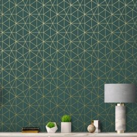 Emerald Green and Gold Metro Prism Geometric Triangle Wallpaper - WOW037 World of Wallpaper
