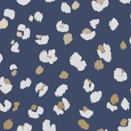 Leopard Spot Wallpaper Navy Blue/Gold/White World of Wallpaper WOW045