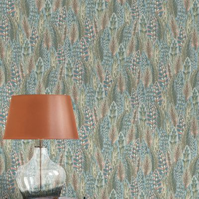 Amazonia Amherst Coral Blue Wallpaper Holden 91302