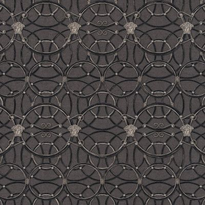 Versace La Scala Del Palazzo Geometric Wallpaper - Black and Silver - 37049-4