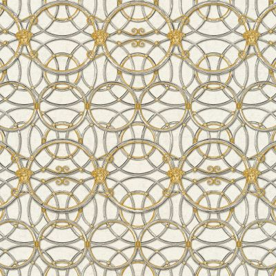 Versace La Scala Del Palazzo Geometric Wallpaper - Cream and Gold- 37049-2 - 10m x 70cm