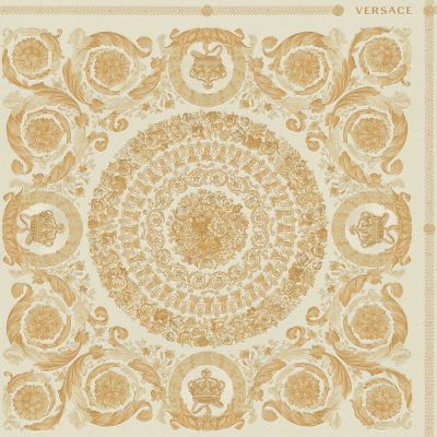 Versace Heritage Tile Panel Wallpaper - Cream and Gold - 37055-2 - 10m x 70cm