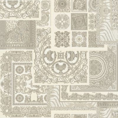 Versace Decoupage Baroque Wallpaper Silver and White 37048-5